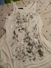 Top Shirt Longshirt Größe 38 Damen Kette Sommer Glitzer Steine