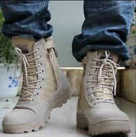 Mens Lace Up Strappy Military Combat Boots Round Toe Winter Army Camoflage Shoes
