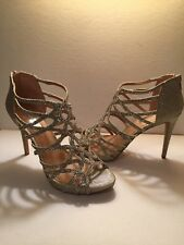 "Glitter Rhinestone Stiletto Silver Strappy 4"" Plus High Heel Party Dressy 8M INC"
