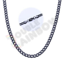 "Men's Stainless Steel Black 3-10mm Cuban Curb Necklace Link 18-36"" Chain C08"