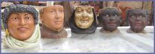 5 ANCIENS  POT  A TABAC   ANTHROPOMORPHE  EN BARBOTINE ET CERAMIQUE