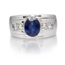 Natural Azul Zafiro Piedra Con 925 Plata de Ley Anillo de Banda para Hombre