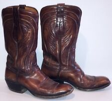 Lucchese Western Leather Brown Boots Feather Design Classic Men's 8 D / 8D