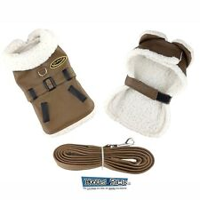 Doggie Design Lined Bomber Brown Faux Leather Jacket Coat Harness w/ Leash