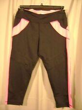 NWOT Velocity SZ XS Black & Pink Capri Tights Pants Workout Yoga Exercise 515