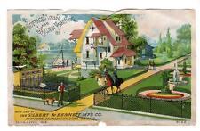 1889 GILBERT & BENNETT MFG CO*COTTAGE LAWN & GARDEN FENCING*VICTORIAN TRADE CARD