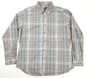 ExOFFICIO Insect Shield Men's XXL Red Gray Plaid Long Sleeve Button Front Shirt