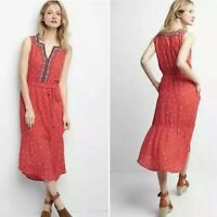 New GAP Womans Embroidered Midi Tier Dress Sz XL Red Floral Print Sleeveless NWT
