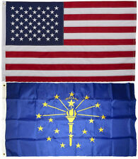 Indiana and Usa Flag 3x5 Embroidered 2 double sided Flag Wholesale Lot