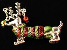 "NWT CHRISTMAS REINDEER WEENIE WIENER DACHSHUND DOG PUPPY PIN BROOCH JEWELRY 2"""