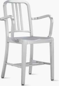 Genuine Emeco 1006A Navy Arm Chair Brushed Aluminum  WE SHIP WORLDWIDE