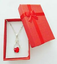 Love Heart in a bottle Beautiful Necklace Jewellery Red Stone Brand New & Boxed