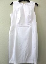 Calvin Klein True White Sleeveless Shift Dress Work Career Size 8 NWT