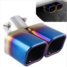 """Dual Exhaust Tip Muffler Slanted 2.5"""" inlet stainless steel Chorme Blue"""
