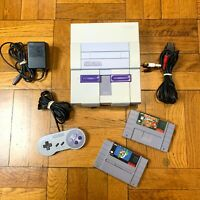 Super Nintendo SNES Original Console OEM System Set w/ Mario World & Donkey Kong