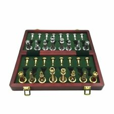 Metal Glossy Golden Silver Chess Pieces Wood Folding Board Professional Game Set