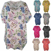 New Ladies Italian Floral Linen Baggy Tunic Women Summer Lagenlook Top Plus Size