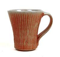 Vintage Studio Art Pottery Mug Stoneware Glazed Artist Mark Striped Ceramic