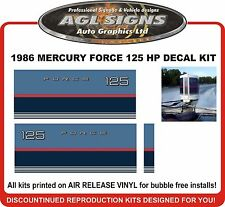 1986 MERCURY FORCE 125 hp Outboard decal set