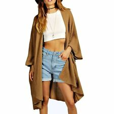 Ladies Autumn Winter Oversized Baggy Open Front Pocket Knitted Cape Cardigan Camel