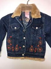 Cute Nanette Girls Jean Denim Jacket Sz 4 Embroidered Flower Fur Trim & Collar