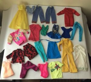 Bundle / lot of vintage dolls clothes for fashion doll with most needing repair