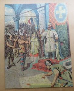 VINTAGE COLOUR LINE CUT WOODEN JIGSAW PUZZLE - Wittekind Submits to Charlemagne