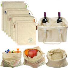 9 Reusable Produce Bag Organic Natural Cotton Mesh Vegetable Fruit Storage Pouch