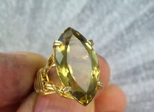 GENUINE CITRINE GEMSTONE RING 20 CARATS -- SIZE 5 WIRE WRAPPED 14KT ROLLED GOLD