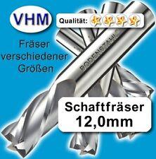 12mm Vollhartmetall Fräser Schaftfräser Kunststoff Holz VHM Schaft=12x75mm TiAlN