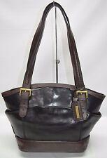 Tignanello Black Glazed Leather Brown Trim Medium Satchel Carryall Tote Purse