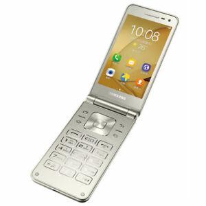 """Samsung Galaxy Folder 2 G1650 3.8"""" Gold 16GB Dual Sim Android Phone By FedEx"""