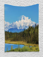 Alaska Tapestry Snow Covered Mountain Print Wall Hanging Decor
