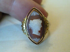 BEAUTIFUL VICTORIAN 14K YELLOW GOLD RING,  HARDSTONE CARVED CAMEO - SIZE 4.25
