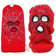 Red Spider Web Mens Ski Mask Beanie with Mouse Eyeholes  One Size Knitted 16""