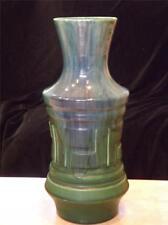"ROYAL HAEGER Vase ART POTTERY Vintage Blue Green Tall 13""  Quezal Drip"