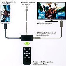 1080P MHL Micro USB to HDMI HDTV Adapter+Remote Control For Sony Xperia Z1 Z2 Z3