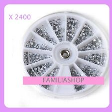 2400 STRASS NAIL ART / FAUX ONGLES / CILS / 12 FORMES / GRIS DIAMANT