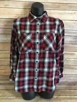 RALPH LAUREN Flannel Shirt size MEDIUM Womens Plaid Button Top Long Sleeve Fit M