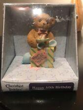 Cherished Teddies Happy 40th Birthday Bear Age 40 2004 Enesco Case