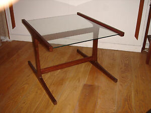 Vintage Designer Glass topped Coffee Table with Cherry wood H frame restored
