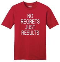 Mens No Regrets Just Results Soft Tee Motivational Workout Gym Shirt