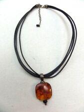 Silpada Amber Square Pendant Leather Cord Multi Strand Necklace