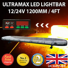 "LED Light Bar 1200mm  48"" 12v 24v Amber Flashing Strobe Beacon Recovery Light"