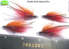 Fly Fishing Double hook Salmon Flies  (Set of 4 with a Free pack of Vibro Discs)