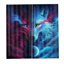 2 Panels 3D Blackout Curtains Wolf Printing Drapes for Bedroom Living Room