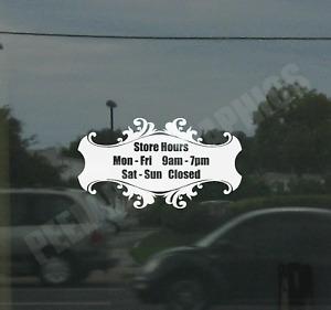 Business Custom Window Door Glass Store Hours Vinyl Decal Sign Sticker Style #4