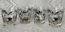 Set of 4 Vintage 6oz Libbey On The Rocks Bar Glasses Horse Drawn Carriage Design