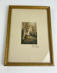 Antique Fred Thompson hand colored photo of Birch trees Maine original frame