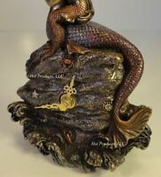 "8"" Mermaid CLOCK Nautical Decor Sculpture Figurine Statue Bronze Finish"